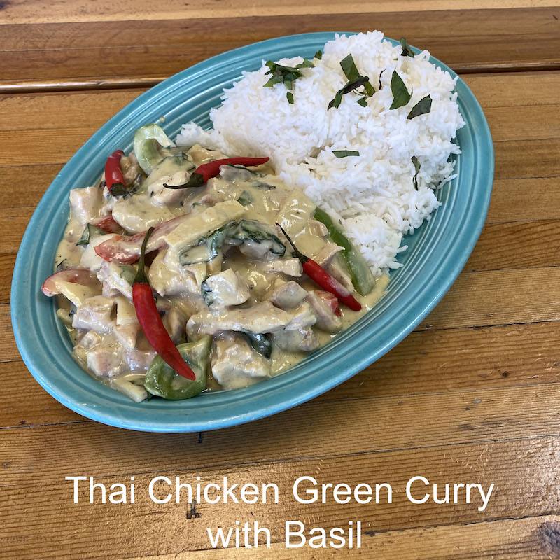 Thai chicken curry with basil